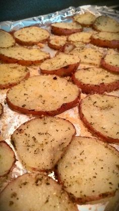 Roasted Red Potatoe Slices 3-red potatoes sliced thinly, 1-tablespoon of olive oil, 1-tsp of Italian seasoning, and 1-tsp of sea salt. Spread slices evenly on baking sheet and bake at 400* for 20 mins. Around 5 mins left, sprinkle parmesan cheese on top and bake for remainder of time. So yummy!