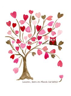 Owl on Hearts Tree 16X11 art  Print of  original watercolor. Personalized, girls wall art , baby girl, nursery decor, pink brown. $30.00, via Etsy.  With an owl!! For kinsley!!!