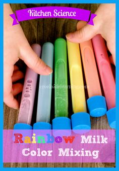 Kitchen Science: Rainbow Milk Color Mixing Experiment from Creekside Learning