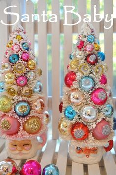 shabby chic christmas pink santa bottle brush tree