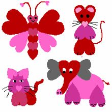 animals made of hearts