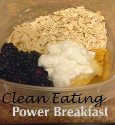 Greek Yogurt + Oats + Almond Milk + Fruit + Honey = Clean Eating Power Breakfast! Too easy