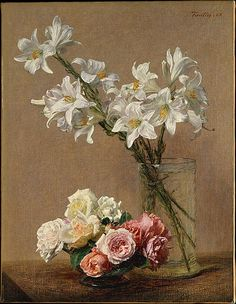 Henri Fantin-Latour (Grenoble 1836–1904 Buré) | Roses and Lilies | This canvas, in excellent condition, shows Fantin's virtuosic manipulation of paint—not only with brushes, but also with the butt of the brush and scrapers.