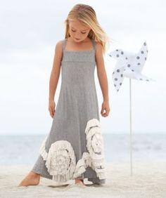 Flower girl style. Chasing-fireflies.com. Swirly ruffles maxi girls dress. $78. Pair with ivory/ lace jacket.