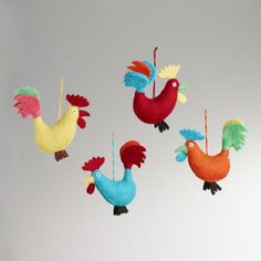 Felted Wool Rooster Ornaments, Set of 4 at World Market- WANT FOR MY TREE!