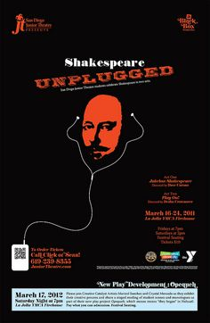 "Post I designed for San Diego Junior Theatre's 2012 black box production of Shakespeare scenes in two acts, ""Shakespeare Unplugged."""