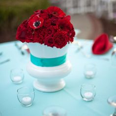 Red anemone, mums, carnation and roses centerpieces | Amber Davis Photography | Flowers: Anne Whitson