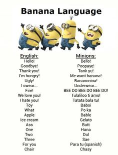 Despicable Me Minions Language | Despicable Me - Minions - Banana Language