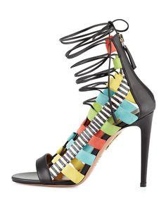 """""""Shoe du Jour"""" 11.10.14 Aquazzura """"Amazon"""" Multicolor Lace-Up Sandals « Shoefessional"""