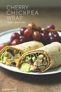 Cherry Chickpea Salad Wrap with creamy cashew dressing  #vegan #glutenfree