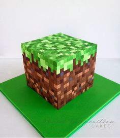 Minecraft grass block birthday cake