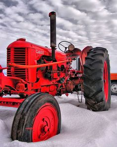 Case tractor in the snow