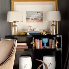 Graciela Rutkowski Interiors - living rooms - gray, wall panels, gold leaf, beveled, frame, mercury glass, lamps, glossy, black, lacquer, console, table, white, garden stools, lacquer console table, black console table, lacquered console table, black lacquered console table,