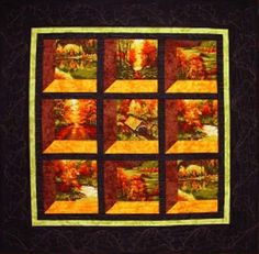 Changing Seasons Attic Windows Quilt pattern by Rhoda Nelson for RJR Fabrics. This creative quilt can be made with any fall fabric panel