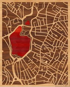16x20 Woodcut Map of Boston, Massachusetts - I left my heart in Boston (Jamaica Pond)
