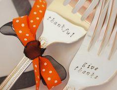 thanksgiving hostess gift - stamped serving size forks - possible Webelos Craftsman metal project