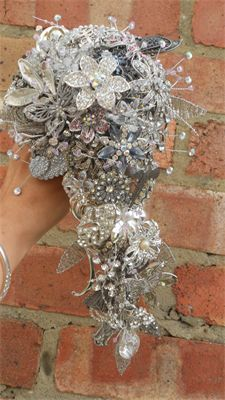 stunning shower bouquet  vintage brooches and lots of sparkle
