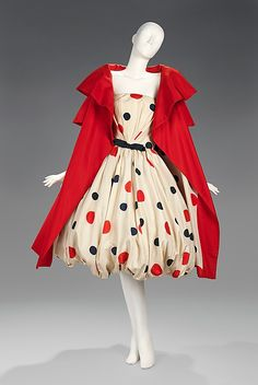 Silk evening ensemble (bubble-skirted strapless polka-dot dress and short-sleeved red coat) by Arnold Scaasi, American, 1961.