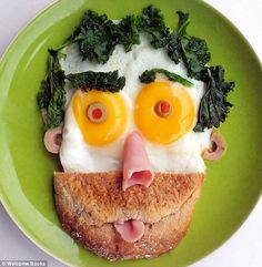 Quirky: Another plate depicts a man with spinach for hair and sunny-side-up eggs for eyes. Bill and Claire Wurtzel's book Funny Food: Fun, Healthy, Silly Creative Breakfasts.