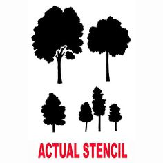 Cutting Edge Stencils - Small Trees Assortment Stencil. $19.95. See more Fresco and Mural Stencils: http://www.cuttingedgestencils.com/wall-stencils-murals-oaks.html    #fresco #mural #stencils #cuttingedgestencils #stenciling #stencilpatterns
