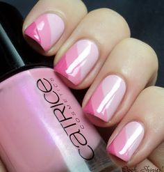 Pink striped nails