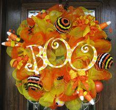30 Deco Mesh BOO CANDY CORN Wreath by decoglitz on Etsy