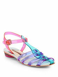 Sophia Webster Violetta Colorblock Translucent Jelly Sandals