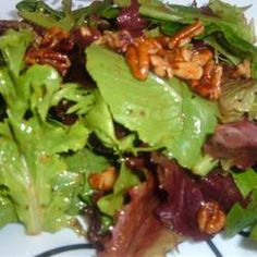 """Mixed Greens with Walnut and Roasted Onion Dressing 