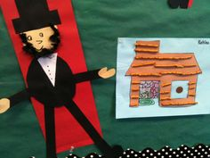 Lincoln cut and paste and log cabin made from stick pretzels.