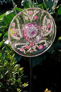 dish flowers garden art   Garden Art Sun Catcher Glass Plate Flower Garden by GlassBlooms
