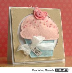 Hero Arts Cardmaking Idea: Felt Cupcake Card