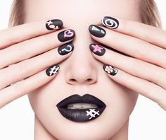 awesome idea! Chalkboard #manicure lets you doodle on your #nails. #Ciate Chalkboard #Nails