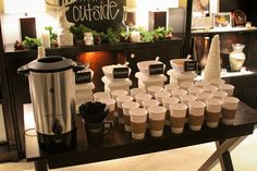 hot chocolate bar and other ideas for baby its cold outside baby shower - use paper cups with labels - have a marker so people can write their name on it and not go through 37 cups each.