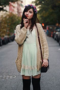 layer a cardigan over a summery dress and add a flower crown