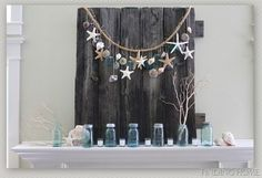 blue mason jars, vintage beach decor, summer mantel, beaches with shells, mason jar mantle decor, sea home decor, sea glass, garland, mantel decorations
