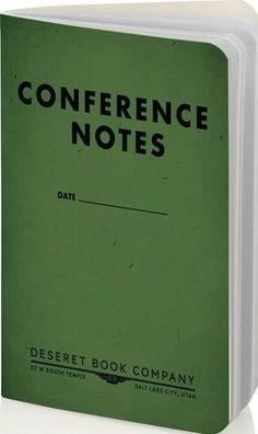 """Conference note taking made easy: this small, slim 3 1/2"""" x 5 1/2"""" notebook has a table of contents and a space on each page to record the speaker, topic, and date. Also comes in large size and in blue. #ldsconf #mormon"""