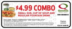 $4.99 combo coupon for Quiznos!
