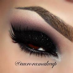 Black Glitter  #eyes #eye #makeup #smokey #bright #dramatic