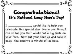 September 5th National Lazy Mom's Day
