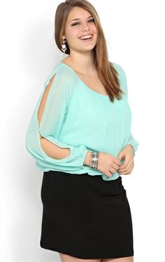 Deb Shops #Mint Plus Size Blouson #Dress with Long Sleeves and Bodycon Skirt