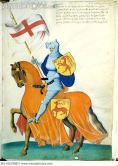 Medival knight illumination | Knight and Orange Horse: Capodilista Codex Manuscript Illumination ...