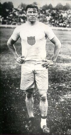 Jim Thorpe.  Notice the different socks? Somebody stole his shoes before his race. All he could find were two shoes of different sizes discarded in the trash can. One was too big so he wore extra socks. He ran his race like this, and got an Olympic gold medal, and set a world record.