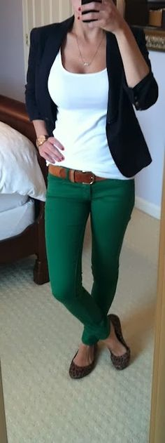 Lovely white shirt, navy blazer, green jean with animal printed awesome shoes