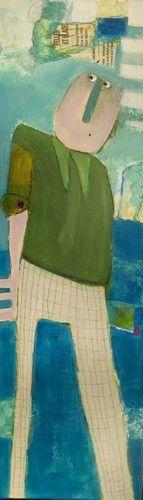 """""""Ib er en veluddannet kontormand med hang til ternede bukser"""", 30x100cm  http://charlotte-eland.dk/kunstshop?catalogue_selected=403875_39866"""