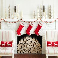 Amazing Christmas decor via Mix and Chic! #laylagrayce #holiday #decor white / red fireplace - mantle decor