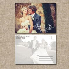 Wedding Thank You Postcard Classic. This listing is by JRaeCardArt wedding invitation postcard, backgrounds, wedding thank you postcards, invitations for wedding, board, big, classic, wedding thank yous, wedding postcard
