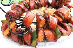 kabobs...I think I might try this with Johnsonville apple chicken sausage