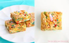 Cake Batter Blondies | The Girl Who Ate Everything