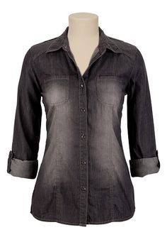 Black Wash Denim Shirt available at #Maurices