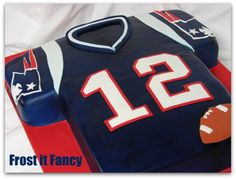 Tom Brady Jersey Cake    Football Birthday cake photos. The best football cakes on Pinterest and the best football cakes on the web! Football cake ideas such as Football Stadium cakes, football field cakes, football helmet cakes, and football logo cakes. #football #cakes #gifts